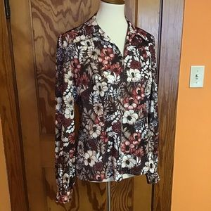 Vintage 70s fall leaves n flowers polyester tunic